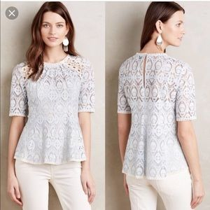 Anthropologie HD in Paris Blue Lace Top